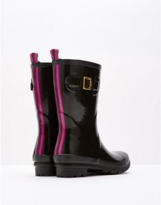 Joules T Kellywelly Mid Length Plain Welly in Black Gloss