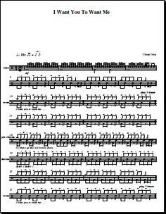 The full drum set music for Drum Set Music, Music Sheets, Sheet Music, Drums Sheet, Partitions, Cheap Trick, Drum Lessons, Drummers