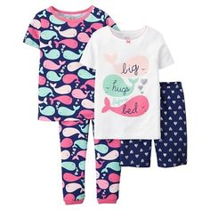 Just One You™ Made by Carter's® Toddler Girls' 4-Piece Mix & Match Whale Pajama Set