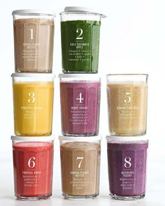 """Williams Sonoma on Instagram: """"Save this for future smoothie prep. 8️⃣ colorful combos made in @vitamix and stored in our favorite reusable containers. The Working…"""" Smoothie Prep, Easy Smoothies, Smoothie Recipes, Strawberry Banana, Raspberry, Coconut Almond Milk, Apple And Peanut Butter, Vitamix Recipes"""