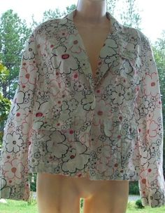 $15.99   Ann Taylor Loft White Floral 100% Cotton Single Button Blazer Jacket 8 8P