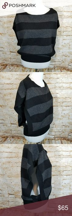 Vince Striped Open Sleeve Sweater Cashmere Blend Vince Womens Black Gray Stripe Open Arms Sweater Alpaca Wool Cashmere Blend Size Large Please see photos for condition and refer to the measurements to insure proper fit Thank you  Width- 22.5 inches Length- 25.5 inches Vince Sweaters