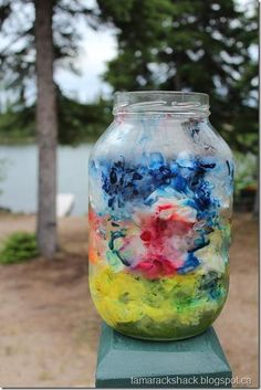 """Ice Dyeing fabric - layered as a """"parfait"""" - try this layering technique but with an open bottom container."""