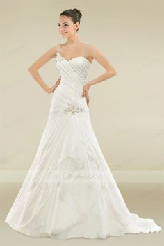 Fairytale A-line Sweetheart Side-draped Wedding Dress