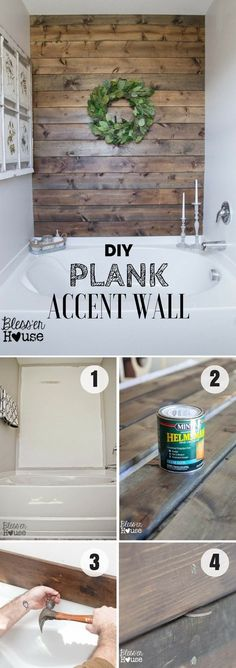 Easy to build DIY Plank Accent Wall for rustic bathroom decor @istandarddesign