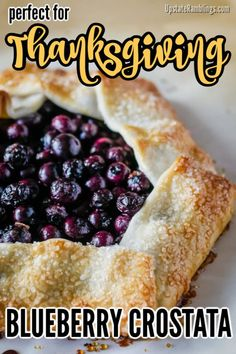 A rustic blueberry galette or crostata - Fresh blueberries baked in a crust for an open faced dessert that tastes delicious & can be made in 30 minutes. Holiday Pies, Holiday Baking, Christmas Desserts, Easy To Make Desserts, Unique Desserts, Thanksgiving Food Crafts, Thanksgiving Feast, Holiday Crafts, Blueberry Galette