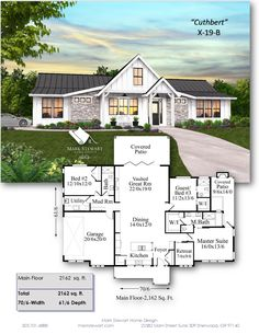 """Cuthbert"" One Story Modern Farmhouse - House Living House Plans One Story, Ranch House Plans, Cottage House Plans, Country House Plans, New House Plans, Dream House Plans, Small House Plans, Cottage Homes, Dream Houses"