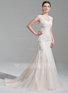 [US$ 338.99] Trumpet/Mermaid Scoop Neck Court Train Tulle Wedding Dress With Beading Appliques Lace Sequins