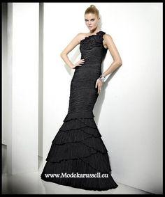 Tafft Meerjungfrau Abendkleid in Schwarz