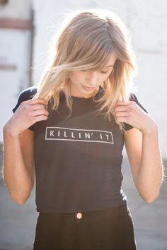 Brandy ♥ Melville   Carolina Killin' It Top - Graphics from www.brandymelvilleusa.com  via KEEP