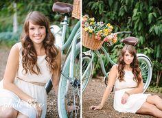 Cute Senior Poses | Bike with Flower Basket Prop | Rose Flower Basket | Blue Vintage Bike