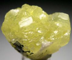 Prehnite  Merelani Hills, Arusha, Tanzania   Exceptionally bright, glowing, translucent lemon yellow Prehnite on a small amount of Graphite matrix. There is even a partial Tanzanite crystal attached to the backside, size 2.7 x 2.2 x 2 cm.