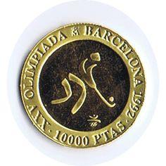 Moneda de oro 10.000 Pesetas Barcelona 92. 1990 Hockey., Tienda Numismatica y Filatelia Lopez, compra venta de monedas oro y plata, sellos españa, accesorios Leuchtturm