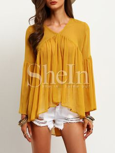 Shop Yellow Bell Sleeve Ruffle Blouse online. SheIn offers Yellow Bell Sleeve Ruffle Blouse & more to fit your fashionable needs.