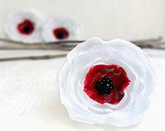 White red and black anemones  3 big handmade wedding by Likron, $9.00