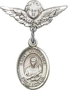 Sterling Silver Baby Badge with St Lawrence Charm and Angel wWings Badge Pin >>> Check this awesome product by going to the link at the image.