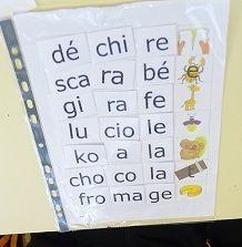 Voici un atelier autonome permettant de reconstituer des mots avec des syllabes. Le principe est simple, les enfants ont une fiche avec des images et une série de syllabes pré-découpées et doivent les replacer face à l'image. Je conseille de ne pas plastifier...