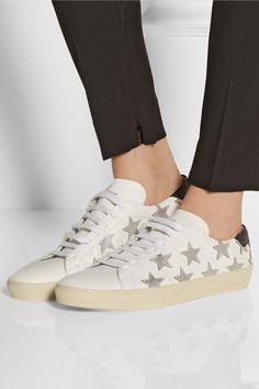 9e9f1ea98ec83 Saint Laurent - Star-appliquéd leather sneakers