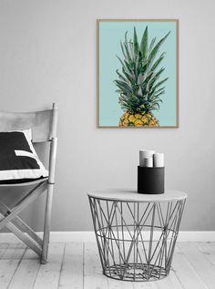 Pineapple Wall Art  Scandi Poster  Pineapple  Tropical Art