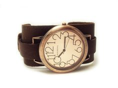 Single Strap Watch Cuff with Narmi Watch Face by Leather Dragon on Etsy: $55