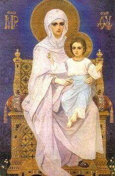Theotokos icon in pastels