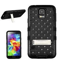 BLACK BLING GEM RIBCAGE HYBRID METAL STAND COVER HARD GEL CASE SAMSUNG GALAXY S5