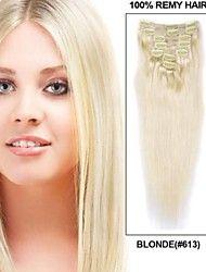 14061723 blond 100% Human Hair Virgin 22 inch Clip in Hair Extensions