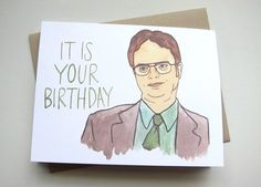 Dwight Schrute // The Office Birthday Card Office Birthday, Birthday Party For Teens, Birthday Gifts For Husband, Sister Birthday Quotes, Funny Birthday Cards, Birthday Wishes, Humor Birthday, Happy Birthday, Bday Cards