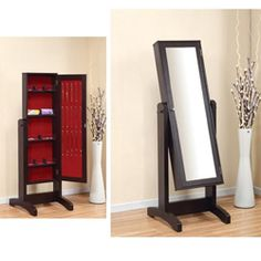 @Overstock - This contemporary jewelry organizer combines two fashion necessities in one stunning piece. Check out your outfit in the full-length mirror before opening the door to choose your accessories. It's a fashionable addition to your bedroom set.http://www.overstock.com/Home-Garden/Lily-Cheval-Mirror-with-Jewelry-Holder/5735853/product.html?CID=214117 $182.99