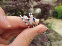 Found on Weddingbee.com - I want blue sapphire on my wedding band!!