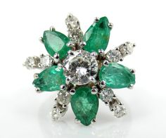 Vintage Diamond & Emeralds Cluster Flower Ring - Engagement