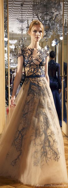 Zuhair Murad Haute Couture | F/W 2013 Love how the pattern is carried down and dreamily muted by the chiffon overlay
