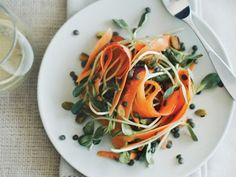 Tangled Carrot and Broccoli Sprout Salad With Tahini Dressing