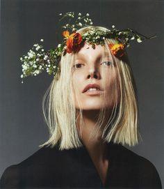Heavenly Hair: straight bob• blonde with flower headpiece • WOLFCUB: CRUISING