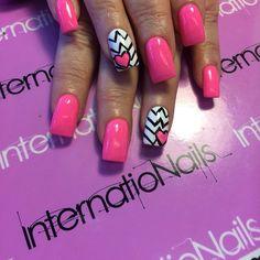 Pink and black Square Shoe Nails, My Nails, Funky Fashion, 3d Nail Art, Black Square, Nail Designs, Pink, Goodies, Beauty
