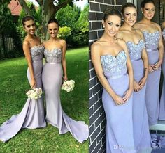 Lavender 2016 Lace Long Bridesmaid Dress Mermaid Sweetheart Appliques  Beaded Maid Of Honor Dress Vestido Para 465bbdf649b6