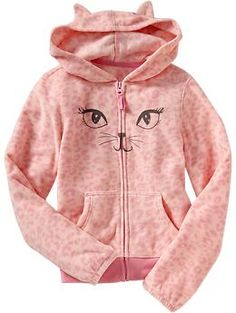 Girls Micro Performance Fleece Animal Hoodies | Old Navy