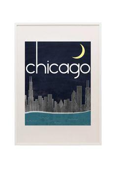 Chicago Skyline 11x14 Print on Fine Art Canvas Textured Paper. $20.00, via Etsy.