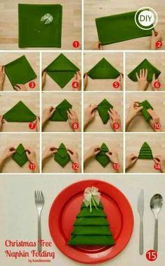 .christmas tree napkin fold