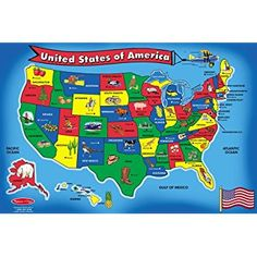 Wood N Things USA Map Floor Puzzle By Wood N Things - Roll up map of us