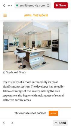 Mirrored backsplash and display area Mirror Backsplash, Surface Area, Kitchens, Display, Cabinet, Storage, Room, Furniture, Home Decor