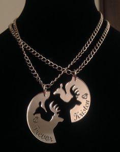 Laser Cut Mirrored Buck & Doe Interlocking Necklace (Personalized)
