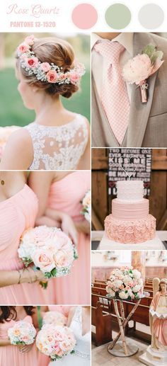 Spring 2016 rose pink wedding color combo ideas inspired by Pantone's top 10 spring wedding colors. Pink Wedding Colors, Wedding Color Schemes, Wedding Flowers, Pale Pink Weddings, Yellow Wedding, Ivory Wedding, Bouquet Wedding, Romantic Weddings, Trendy Wedding
