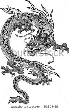 Japanese Embroidery Tiger Psychedelic hand-drawn huge and detailed chinese dragon - new year symbol by Alexandra Khrobostova, via ShutterStock - Small Dragon Tattoos, Dragon Tattoo For Women, Japanese Dragon Tattoos, Dragon Tattoo Designs, Tiger Dragon, G Dragon, New Year Symbols, Traditional Japanese Tattoos, Traditional Chinese