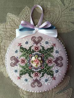 Finished Cross Stitch Ornament Just Nan Porcelain Nosegay Valentine Hearts   eBay