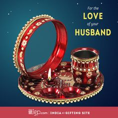 Get this jewel encrusted with puja samagri from IGP.You can get it delivered at your doorstep anywhere in India within working days @ Karwa Chauth Gift, Happy Karwa Chauth, Home Wall Painting, Thali Decoration Ideas, Happy Married Life, Indian Festivals, Online Gifts, Dali, Art Work