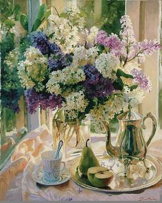 Lilac Tea Party Benjamin Floral Landscape Flower Lilacs Vase Print Poster 30x24