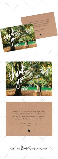 Thank You XO Photo Card Template on Etsy | Tim Harris Photography | For the Love of Stationery | Rebecca + Aaron