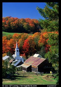 Church and barn, East Corinth. Vermont, New England, USA