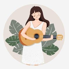 Music Illustration, Portrait Illustration, Character Illustration, Illustrations, Guitar Drawing, Aesthetic Art, Cute Wallpapers, Cute Art, Watercolor Art